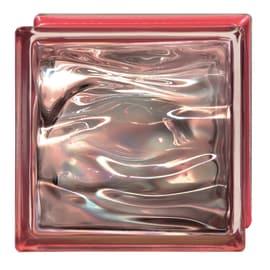 Vetromattone Agua Perla rosso ondulato effetto acqua perlato 19 x 19 x 8 cm