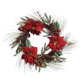 Fuoriporta aghi di pino e stella natalizia, ø 70 cm