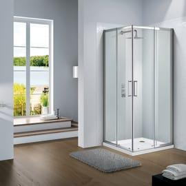 Box doccia scorrevole Slimline 65-70 x 65-70, H 195 cm cristallo 6 mm trasparente/silver