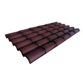 Lastra coppo terracotta anticato in polimglass 99 x 209  cm, spessore 2 mm