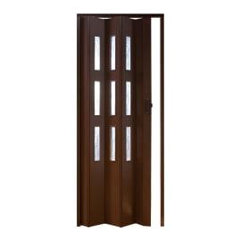 Porta a soffietto vetrata Basic noce L 83 x H 214 cm