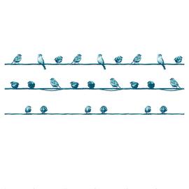 Tenda doccia Birdies blu L 180 x H 200 cm