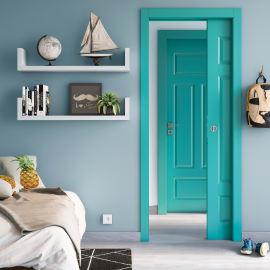 Porta da interno battente Coconut Groove azzurro 80 x H 210 cm dx