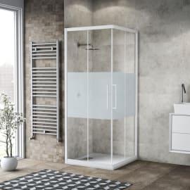 Box doccia scorrevole Record 70 x 70, H 195 cm cristallo 6 mm satinato/bianco opaco