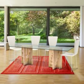 Tavolo Multis legno e vetro L 200 x P 80 x H 76 cm