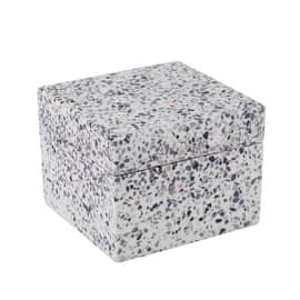 Porta cotone Terrazo bianco/grigio