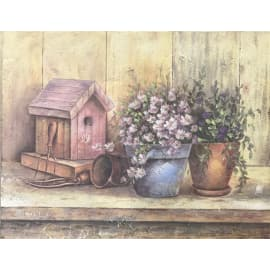 Quadro in legno Bird House 35,5x45,5