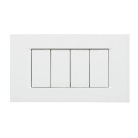 Placca 4 moduli FEB Flat bianco