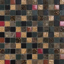 Mosaico Patchwork 30 x 30 cm nero, grigio, rosso, oro