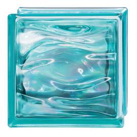 Vetromattone Agua Perla blu ondulato effetto acqua perlato 19 x 19 x 8 cm