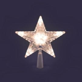 Puntale a stella luminoso 10 minilucciole Led classica gialla L 18 x P 18 x H 21 cm