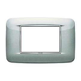 Placca 3 moduli Vimar Eikon Round argento metal