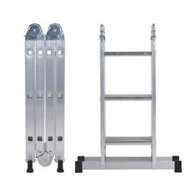 Scala snodata multifunzione alluminio Gierre 3+3+3+3 gradini, per lavori fino a 4,3 m