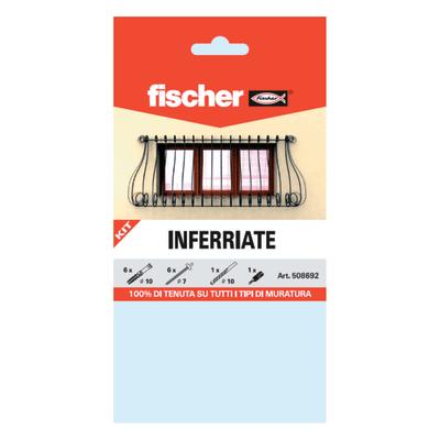 6 kit di fissaggio fischer inferriate 10 x 80 mm con