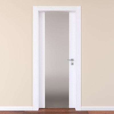 Porta a battente Plaza Vetro frassino bianco L 90 x H 210 cm sinistra