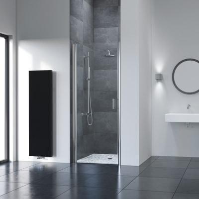 Porta doccia battente Frameless 70 cm, H 195 cm in vetro temprato, spessore  6 mm trasparente argento