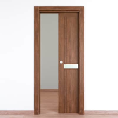Porta da interno scorrevole Spyhole nut larice noce 70 x H 210 cm reversibile