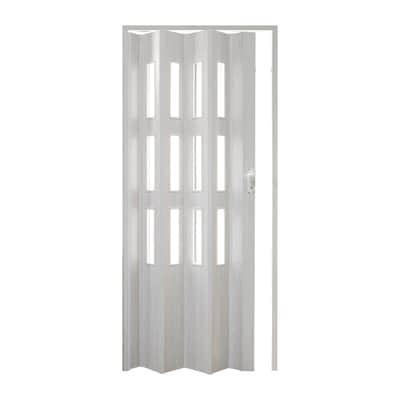 Porta a soffietto vetrata Luciana pino sbiancato L 88.5 x H 214 cm ...