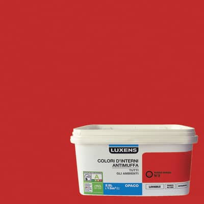 Idropittura lavabile Antimuffa Rosso Rosso 3 - 2,5 L Luxens