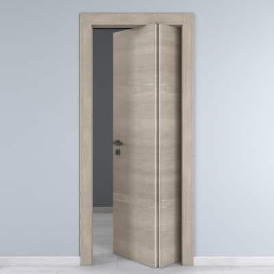Porta da interno pieghevole asimmetrica Chasing rovere chiaro 80 x H 210 cm dx