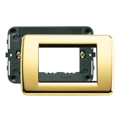 Placca 3 moduli Vimar Idea oro lucido