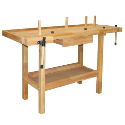 Banco da lavoro Hobby, fisso in legno con 2 morse, L137 x P50 xH86 cm