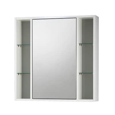 Armadietto a specchio Lucky L 74 x H 75 x P  16 cm bianco lucido