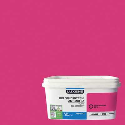 Idropittura lavabile Antimuffa Rosa Shocking 3 - 2,5 L Luxens