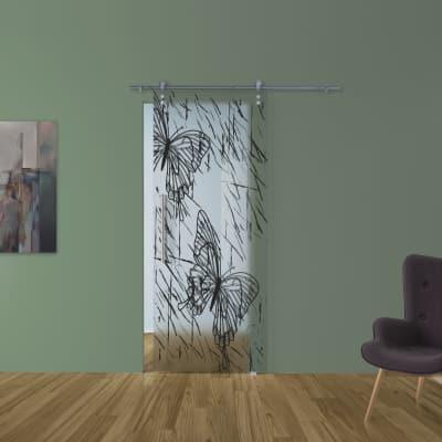 Porta da interno scorrevole Butterfly/binario Lux 88 x H 215 cm dx