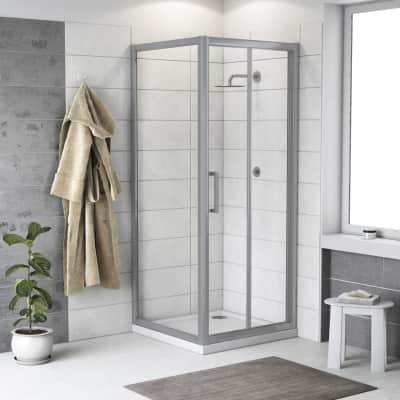 Doccia con porta pieghevole e lato fisso Quad 77.5 - 80,5 x 77.5 - 79 cm, H 190 cm cristallo 6 mm trasparente/silver