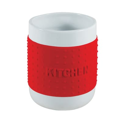Porta posate e mestoli bianco/rosso H 14 cm