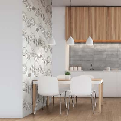 Piastrella Time Hexagone 7 x 28 cm bianco