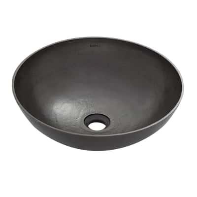 Lavabo da appoggio tondo Denia ø 39 x 13 cm grigio metallizzato