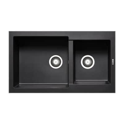 Lavello incasso alazia nero l 86 x p 50 cm 2 vasche prezzi for Lavello nero