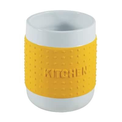 Porta posate e mestoli bianco/giallo H 14 cm