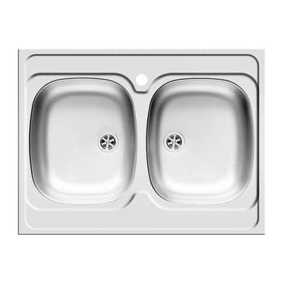 Lavello appoggio Dioniso L 80 x P 60 cm 2 vasche prezzi e offerte ...