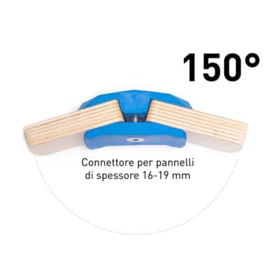 4 connettori Playwood 150° per pannelli in legno in plastica hi-tech blu