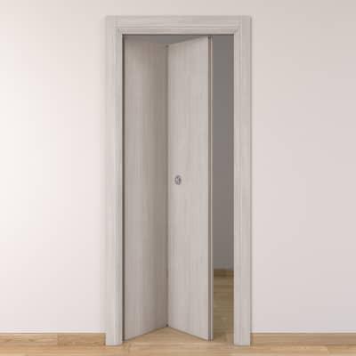 Porta da interno pieghevole Brooklyn frassino bianco 70 x H 210 cm sx