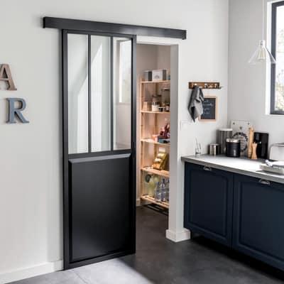Porta da interno scorrevole Atelier Nero 86 x H 215 cm reversibile ...