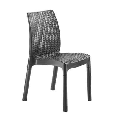 Set 6 sedie impilabile Bistrot nero e grigio