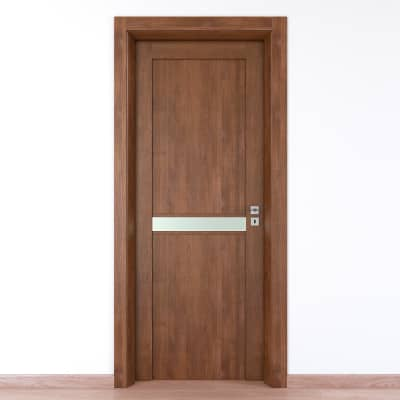 Porta da interno battente Spyhole nut larice noce 80 x H 210 cm sx