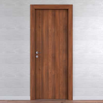 Porta da interno battente One walnut noce 60 x H 210 cm reversibile