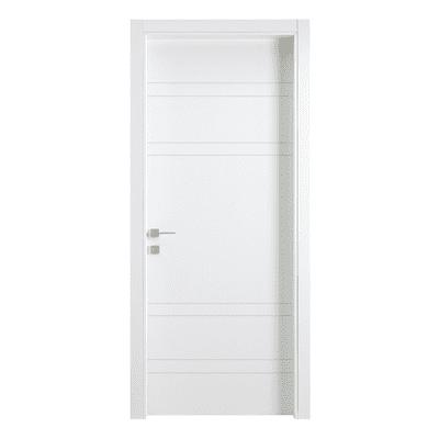 Porta da interno battente One White Incisa + kit telaio bianco 70 x H 210 cm reversibile