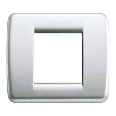 Placca 2 moduli Vimar Idea argento metallizzato