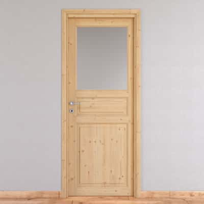 Porta da interno battente Beethoven vetro grezza 80 x H 210 cm reversibile