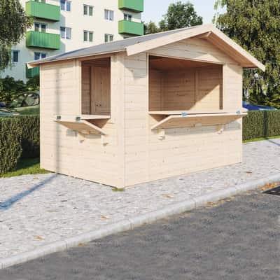 chiosco in legno grezzo Spritz 5,9 m², 2 ribalte