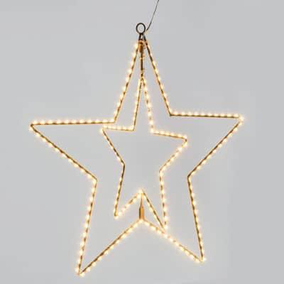 Decorazione luminosa doppia stella minilucciole Led classica gialla L 100 cm