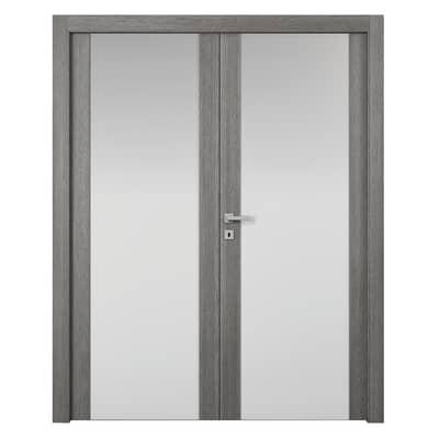 Porta da interno battente Starwood 2 Ante Pietra 140 x H 210 cm sx