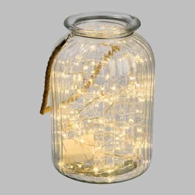 Barattolo in vetro 120 minilucciole Led classica gialla H 26,5 cm