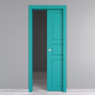 Porta da interno scorrevole New York azzurro 90 x H 210 cm reversibile